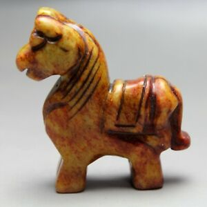 2 5 China Old Yellow Jade Chinese Hand Carved Horse Statue Jade Statue 0933