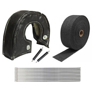 T6 Turbo Heat Shield Blanket Cover 2 50ft Exhaust Header Wrap Tape Black