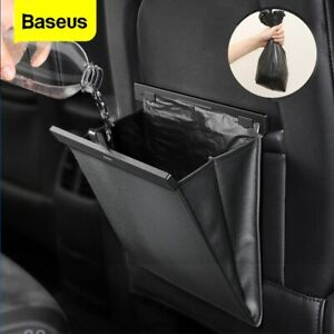 Baseus Car Back Seat Organizer Bag Leather Trash Can Waterproof Auto Garbage Bin
