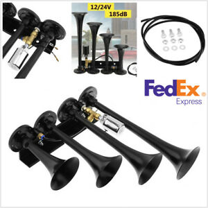 12 24v 185 Db 4 Trumpet Air Horn W electric Valve For Car Truck Motorcycle Boat