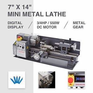Auto Mini Metal Lathe 7 X 14 550w 3 4hp Metal Gear Digital Display 2250rpm New