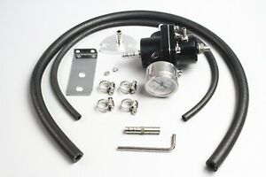 Universal New Adjustable Fuel Pressure Regulator Kit 0 140psi Gage Hose Black