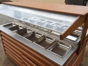 Arneg 70 Wood Olive Salad Bar Refrigerated Cold Buffet Table Large Cart