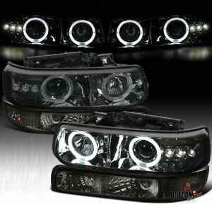 Fit 1999 2002 Silverado 2000 2006 Tahoe Projector Headlights bumper Lamps Smoke