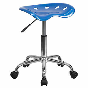 Flash Furniture Bright Blue Tractor Seat Chrome Stool Lf 214a brightblue gg