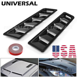 2x Universal Car Hood Vent Louver Scoop Cover Air Flow Intake Cooling Panel Trim