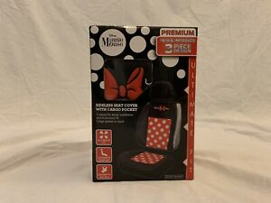 Disney Minnie Mouse Car Seat Cover 3 Piece W Cargo Pocket New In Box Free Ship