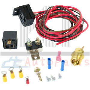 Electric Radiator Engine Fan Thermostat Temperature Switch Relay Kit 185 Degree