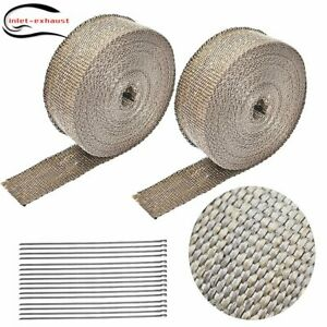 2 Rolls X Titanium Header Manifold Exhaust Heat Wrap Tape 16 Ties 2 X 50ft
