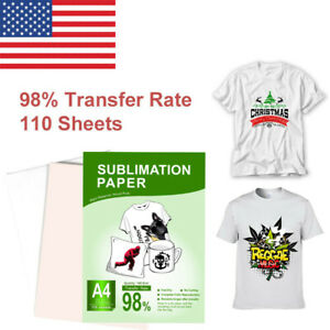 110 Sheets A4 Heat Sublimation Paper Transfer Paper For Inkjet T shirts Mugs Us