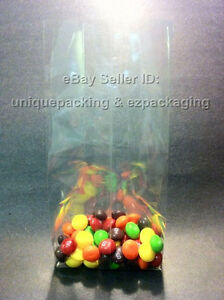 100 Pcs 4x2x10 Clear Side Gusseted Poly Cello Bags Good For Candy Cookie Bakery