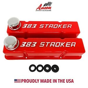 383 Stroker Chevy Valve Covers Red Sbc Tall Raised Logo Ansen Usa