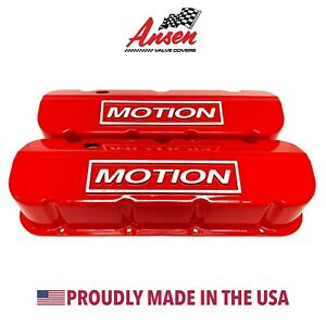 Big Block Chevy Motion Raised Logo Tall Valve Covers Red Ansen Usa
