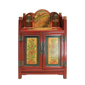 Chinese Tibetan Vintage Floral Animals Graphic Shrine Offer Table Cabinet Cs5734