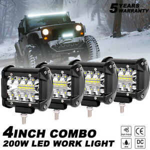 4x 4 Inch Cree Led Work Light Bar Spot Flood Off Road Truck Reverse Fog Lights