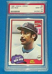 JIM RICE 1981 COCA-COLA #9 BOSTON RED SOX HALL OF FAMER VERY SHARP PSA 10 🔥🔥