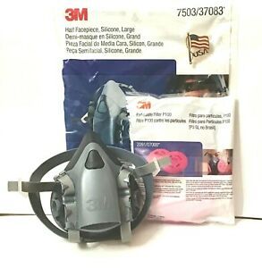 3m 7503 37083 Respirator Large Size Half Face Piece With 1 Pair 2091 Filters