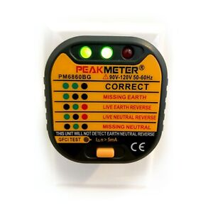 Peak meter Outlet Tester W Gfci Test 110v Us Electric Plug Socket 50 60hz
