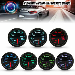 2 52mm 7 Color Car Digital Led Display Psi Oil Pressure Gauge Meter Sensor
