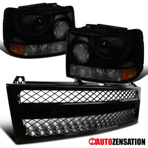 For 1999 2002 Chevy Silverado 1500 Smoke Projector Headlights Black Mesh Grille