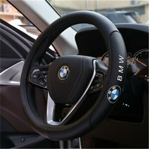 New 38cm Car Steering Wheel Cover For Bmw Logo Black Genuine Leather Nice