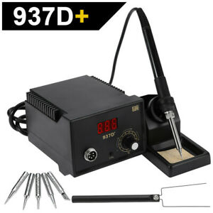 Soldering Station Heater Iron Welding Solder Smd Tool 5 Tips Stand Esd 937d Usa