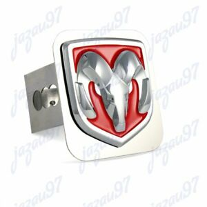For Dodge Ram 3d Logo Stainless Steel Hitch Cover Cap Red 2 Trailer Receiver