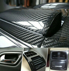 Auto Accessories 5D Glossy Carbon Fiber Vinyl Film Car Interior Wrap Stickers $14.98