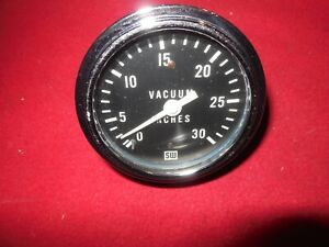 Vintage Stewart Warner 2 5 8 Full White Needle 0 30 Inches Vacuum Gauge Trog