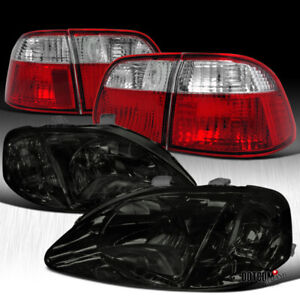 For 1999 2000 Honda Civic 4dr Sedan Smoke Headlights red clear Tail Lamps Pair
