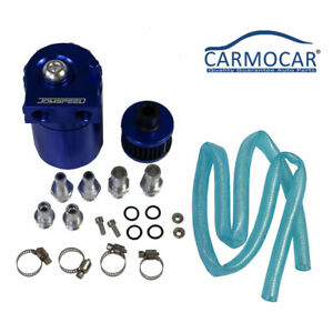 Oil Catch Reservoir Breather Can Tank Filter Blue Kit Cylinder Aluminum Engine