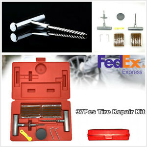 37 Pcs Car Truck Motorcycle Tire Repair Tool Kit To Fix Punctures And Plug Flat