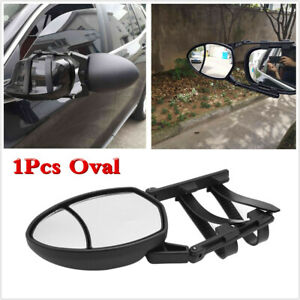 Black Oval Towing Mirror Blind Spot Mirror Clip on Universal For Truck Trailer