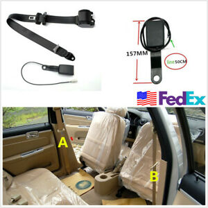 Heavy Duty 3 Point Retractable Car Seat Belt Lap Safety Belt With Warning Cable