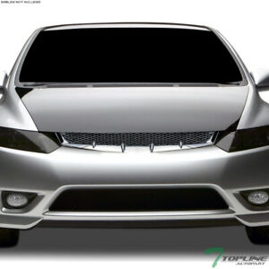 Topline For 2006 2008 Honda Civic 2 Door Coupe Mesh Front Bumper Grille Chrome
