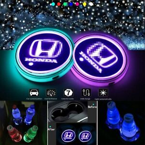 2pcs Led Car Logo Cup Holder Pad 7 Colors Changing Lights Best Gift For Honda
