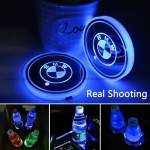 2pcs Led Car Logo Cup Holder Pad 7 Colors Changing Lights Best Gift For Bmw