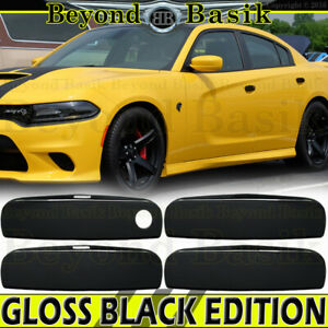 For 2011 15 16 17 18 2019 Dodge Charger Gloss Black Door Handle Covers Overlays