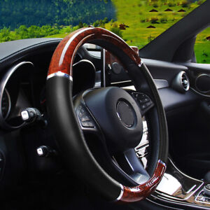 Wood Grain Steering Wheel Cover Auto Car Suv Lux Grip Black Syn Leather
