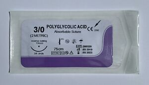 Veterinary Surgical Suture 3 0 Pga 96 Count 8 Boxes Polyglycolic Acid 19mm