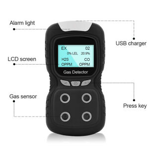 Us Portable Gas Detector 4 gas Monitor Meter Home Air Quality Tester Analyzer