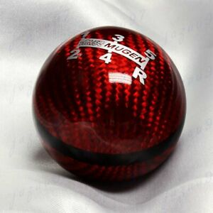 Mugen Red Carbon 5 Speed Jdm Style Shift Knob For Honda Rsx Civic Type R S2000