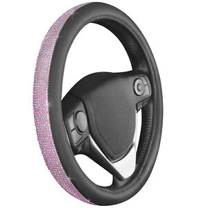 Car Steering Wheel Cover 14 5 _15 Shiny Rhinestone Bling Diamond Pink Girl Lady