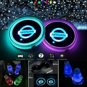 2pcs Led Car Logo Cup Holder Pad 7 Colors Changing Lights Best Gift For Nissan