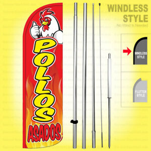 Pollos Asados Windless Swooper Flag Kit 15 Feather Banner Sign Rq h