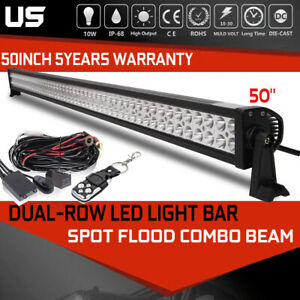 50 inch Led Light Bar Combo Offroad Roof Light Wiring Kit For Truck Atv 4wd 52