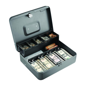 Steel Tiered Tray Cash Box Safe With Cam Key Lock And 2 Keys Grey