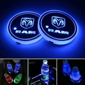 2pcs Led Car Logo Cup Holder Pad 7 Colors Changing Lights Best Gift For Ram