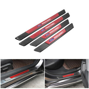 4pcs Carbon Fiber Car Door Scuff Sill Cover Panel Step Protector For Ford Racing