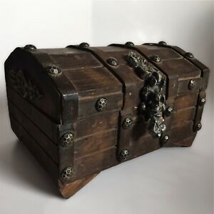 Vintage Wooden Pirate Treasure Chest Footed Jewelry Box Rustic Aged Gothic